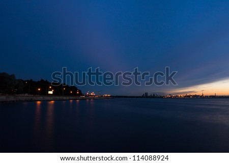 Tallinn just after the sunset, sea view - stock photo