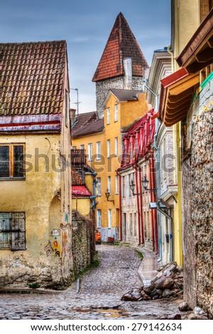 Tallinn Old Town street, Estonia. High Dynamic Range (HDR) image - stock photo