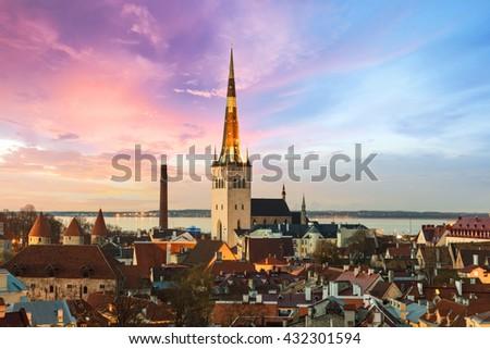 Tallinn sunset, Estonia - stock photo