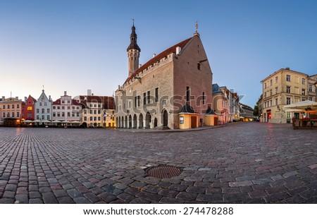 Tallinn Town Hall and Raekoja Square in the Morning, Tallinn, Estonia - stock photo