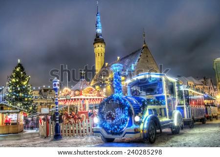 Tallinn town hall christmas train - stock photo