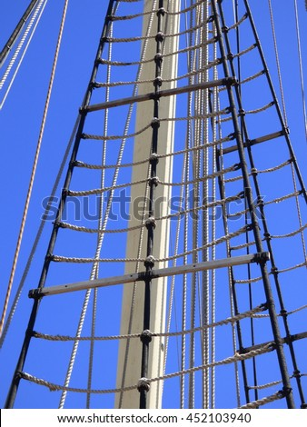 Tallship in Fremantle Harbour in Western Australia.  This is a training ship showing one of the masts and rigging