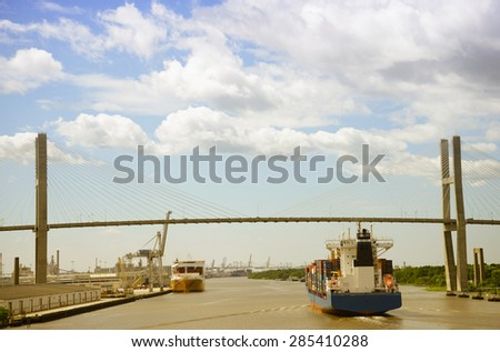 Talmadge bridge in Savannah, Georgia, USA - stock photo