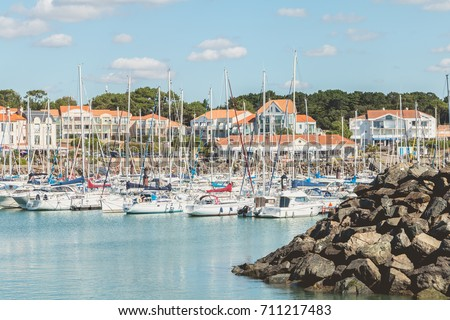 TALMONT SAINT HILAIRE, FRANCE - September 23, 2016 : view of the marina of bourgenay harbor with its 650 places of pleasure boats. Opened since 1 April 1985