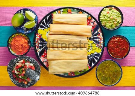 Tamale with corn leaf and sauces guacamole pico de gallo - stock photo