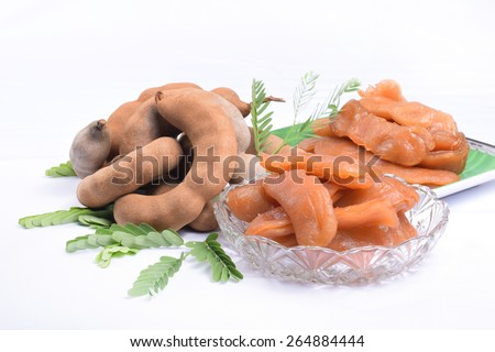 Tamarind on white background ,food of thailand - stock photo