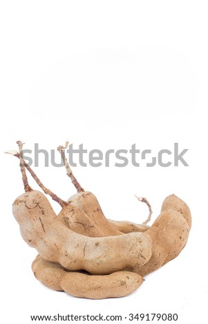 Tamarind on white background. sour tamarind