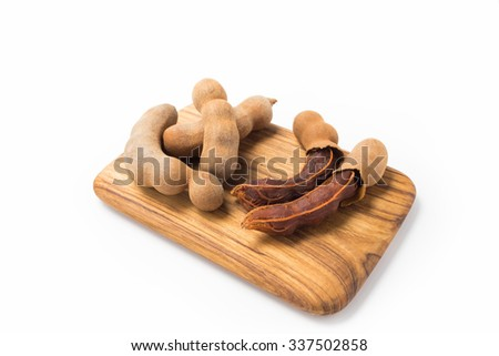 Tamarind with chopping block on isolate background.