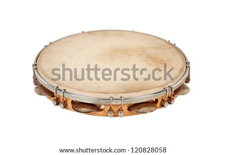 Tambourine isolated on white - stock photo