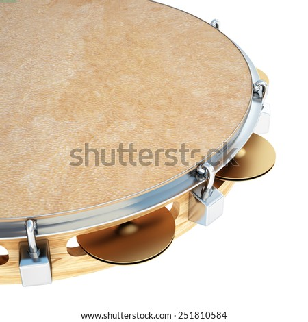 tambourine. Isolated on white background. 3d - stock photo