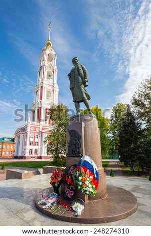 TAMBOV, RUSSIA - SEPTEMBER 13, 2014: Monument Zoya Kosmodemyanskaya. Soviet partisan and a Hero of the Soviet Union (awarded posthumously). She one of the most revered heroines of the Soviet Union - stock photo