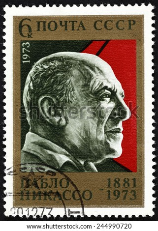 "Tambov, Russian Federation - October 02, 2013 USSR postage stamp ""Pablo Picasso"". USSR postage stamp 1973 year. - stock photo"