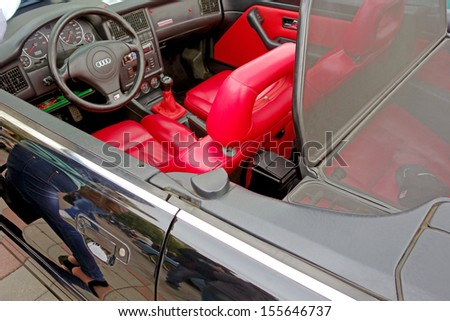 Tambov, Russian Federation - September 7, 2013: Retro Audi convertible with red leather seats. Car festival on the main street of the city of Tambov