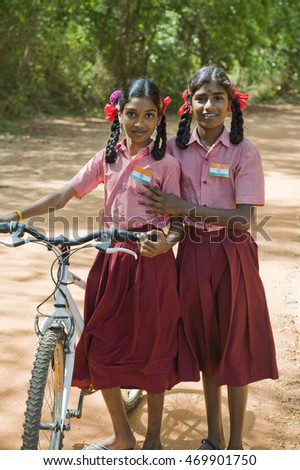TAMIL NADU, INDIA - August 2016: Small flags on the shirts of the girls on Independence day