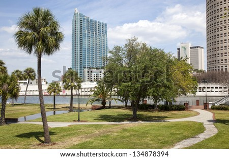 Tampa Bay, Florida skyline from Plant Park - stock photo