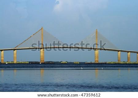 Tampa Bays Sunshine Skyway Bridge. Saint Petersburg Florida - stock photo