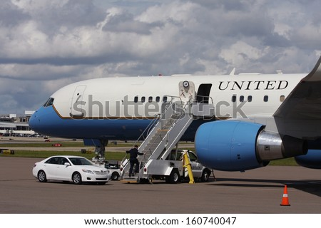 TAMPA, FL, USA - OCTOBER 19: Vice-President Joe Biden flew into Tampa International Airport (TPA), FL aboard Air Force 2 on October 19, 2012.