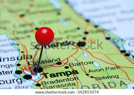 Tampa pinned on a map of USA  - stock photo