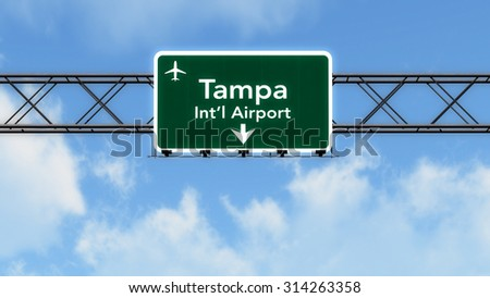 Tampa USA Airport Highway Sign 3D Illustration