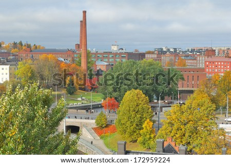 Tampere, Finland. Top-view of the city  in a cloudy autumn day