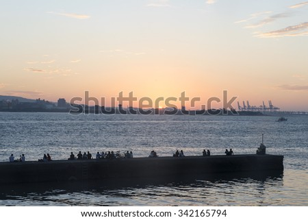 Tamsui scenery with dock and boat in the sunset, Taipei, Taiwan. - stock photo