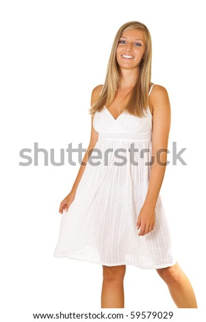 Tan blond caucasian woman in white dress isolated - stock photo