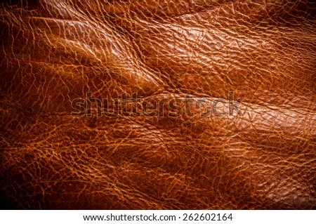 Tan Brown Leather for Concept and Idea Style of Fine Leather Crafting, Handcrafts Workspace, Handmade or Handcrafted Leather Worker. Background Textured and Wallpaper. Vintage Rustic. - stock photo