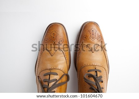 Tan fashionable male brogue shoes on white background view from above - stock photo
