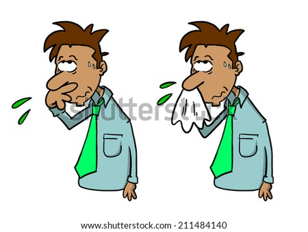 Tan skinned man wiping nose with hand and blowing nose with handkerchief - stock photo