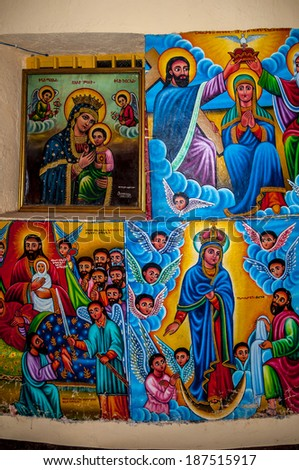 TANA LAKE, ETHIOPIA - MARCH 22,2014 - Painting in Kibran Gabriel Church. Kibran Gabriel Church was established in the 14th century.