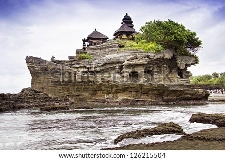 Tanah lot temple, Bali island - stock photo