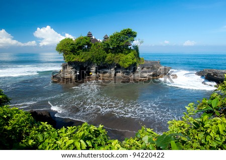 Tanah Lot temple, in Bali island, indonesia - stock photo