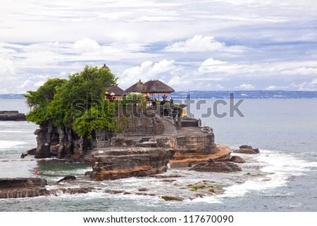 Tanah Lot Temple on Sea in Bali Island Indonesia - stock photo