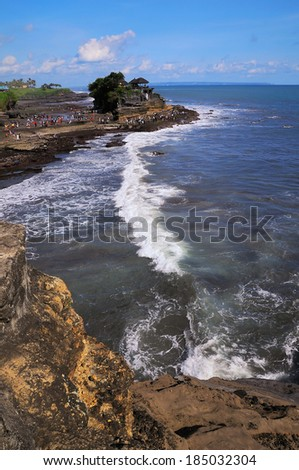 Tanah Lot Temple on Sea in Bali Island Indonesia  - stock photo