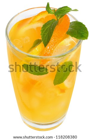 Tangerine and lemon juice with leaf mint and ice cube isolated. - stock photo