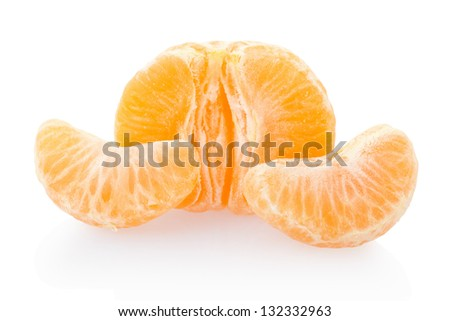 Tangerine and segments isolated on white, clipping path included