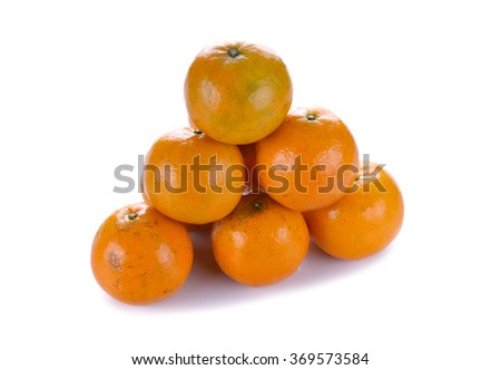 Tangerine isolated on the white background .