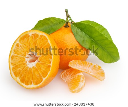 Tangerine  isolated on white background with clipping path - stock photo