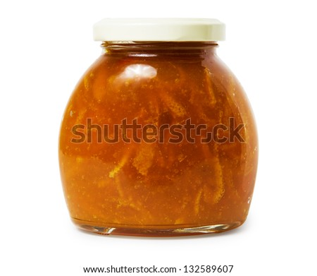 Tangerine jam in closed glass jar isolated on white background. Front view