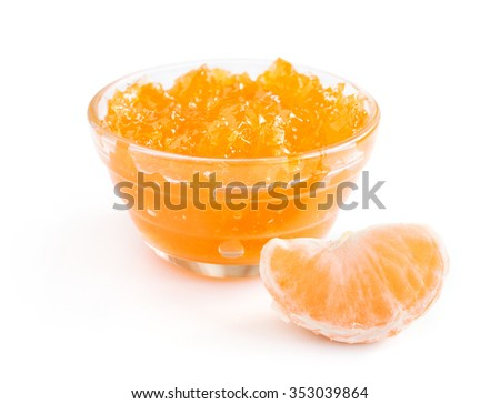 Tangerine jam isolated over white