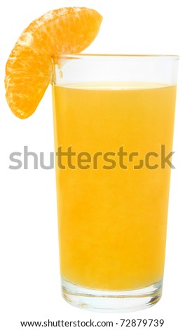 Tangerine juice on a white background.