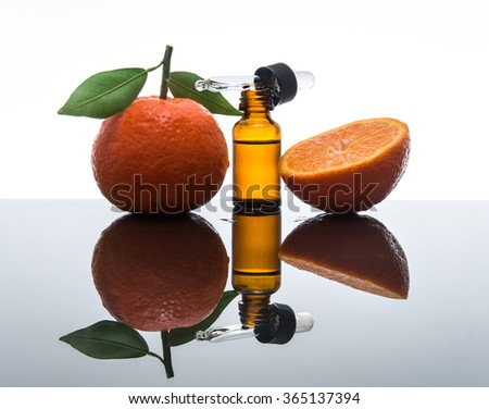 Tangerine / mandarin essential oil bottle with dropper