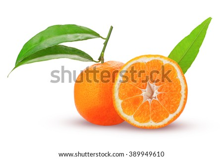 tangerine or mandarin fruit whole and cut in half with green leaves fresh and juicy isolated on white background - stock photo