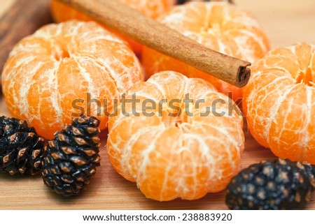 tangerine or mandarin fruit with cinnamon and cone - stock photo