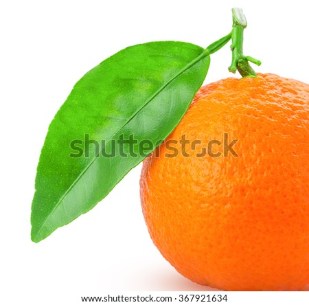 tangerine or mandarin fruit with green leaf isolated on white background