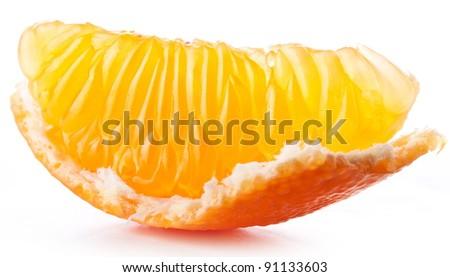 Tangerine slice on white background. - stock photo