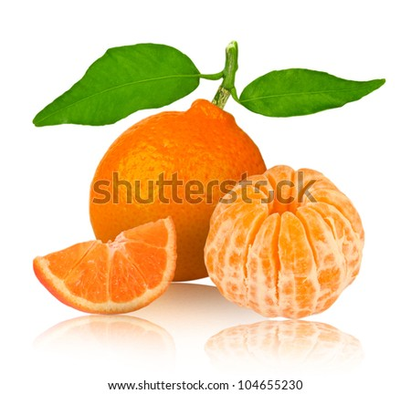 Tangerine with slices isolated on white - stock photo