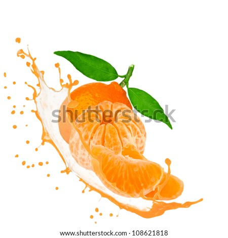 Tangerine with splash isolated on white - stock photo