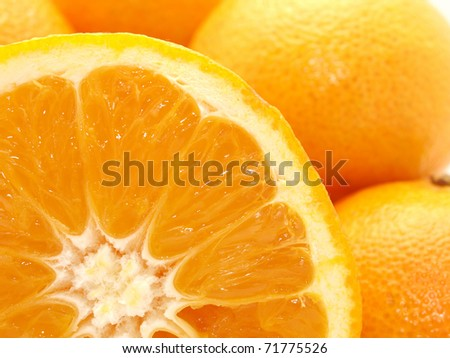 Tangerines and orange on a white background