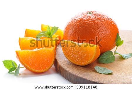 Tangerines.Ripe, juicy  citrus fruits. - stock photo